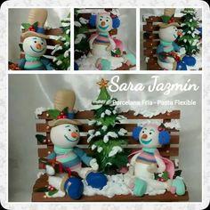 Muñecos de nieve pasta flexible