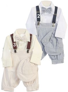 A Seersucker Stripe Knicker Set for baby and infant boys will bring a dash of vintage cute to your baby boys Easter outfit. Striped seersucker knickers in khaki or blue are paired with matching cap, bow tie, suspenders and white long sleeved oxford shirt. This boys special occasion outfit is perfect for as a boys Easter set, wedding outfit or spring photo outfit.