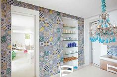 Tile in Style: Mismatched Tilewor. Put some spring in your step with color http://tilesunlimitedny.com/