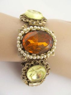 yellow TOPAZ carved jonquil INTAGLIO gold by vintagejewels4u, $150.00
