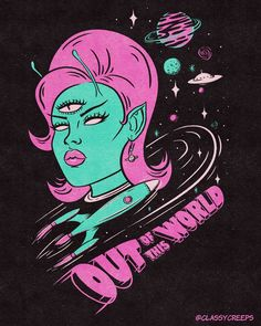 """Jenny Richardson 🦇 on Instagram: """"Another look at the recent design I created for @tragicgirls.co of which you can purchase on t-shirts in her shop! I looove space babes,…"""" Alien Invasion, Wall Collage, Canning, Space, Create, Fun, Shopping, Instagram, Shirts"""