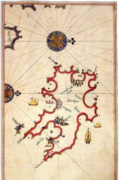 An old map of Minorca - from Kitab-ı Bahriye (Book of Navigation) Vintage Maps, Antique Maps, Piri Reis Map, Hand Drawn Fonts, Old Maps, Map Design, City Maps, Menorca, Historical Maps