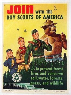 1953 Boy Scouts and Smokey the Bear Poster.