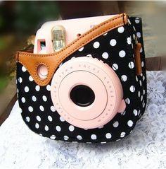Colorful Dots Spot Camera PU Leather Case Bag For Fujifilm Instax mini 8 + Free Shoulder Strap - Black by GabeGabe, Instax Mini 8 Camera, Polaroid Instax, Fujifilm Instax Mini 8, Instax Film, Fuji Polaroid, Polaroid Cases, Fuji Camera, System Camera, Leather Case