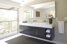 trough sink and floating vanity for Master Bathroom Trough Sink Bathroom, Floating Bathroom Vanities, Floating Vanity, Master Bathroom Vanity, Vanity Sink, Small Bathroom, Bathroom Ideas, Condo Bathroom, Master Bedroom