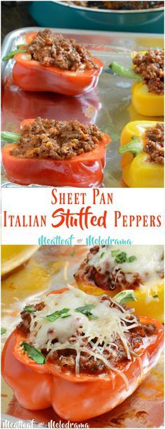 Sheet Pan Italian Stuffed Peppers – Meatloaf and Melodrama Sheet Pan Italian Stuffed Peppers – This easy dinner is gluten free, low carb and takes just 30 minutes to cook. Plus clean up is easy too! from Meatloaf and Melodrama Easy Soup Recipes, Low Carb Recipes, Beef Recipes, Dinner Recipes, Cooking Recipes, Healthy Recipes, Paleo Food, Pan Cooking, Eating Clean