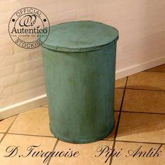 Vasketøjskurv tønde i irret look Dark Turquoise Autentico kalkmaling