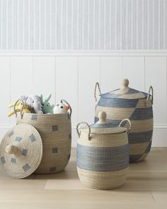 La Jolla Baskets - Serena & Lily - Perfect stylish storage solutions for dog toys too! Nursery Storage, Toy Storage, Kids Storage Baskets, Nursery Organization, Whimsical Nursery, Traditional Market, Market Baskets, Basket Decoration, La Jolla