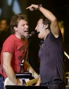 Jon Bon Jovi and Bruce Springsteen...there is so much Jersey in this photo I can't handle it!