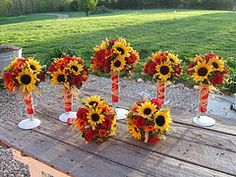 feather sunflower bouquet - Google Search