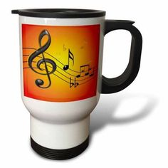 3dRose Colorful musical abstract with 3D musical notes in black and gold on a bright yellow orange gradient, Travel Mug, 14oz, Stainless Steel