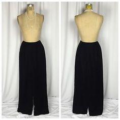 Talbots Black Velvet Lined Side Zip Wide Leg Pants 10   eBay