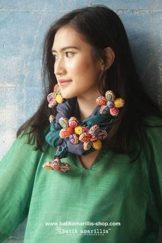 Batik Amarillis's Blooming forever Scarf AVAILABLE at www.batikamarillis-shop.com batik amarillis's blooming forever scarf Gorgeous ,unique and special Blooming forever scarf it's made of various flowy fabrics with hand made 6 flowers made of various Indonesia's traditional Textiles such as Batik and Ikat . can be tied and styled in many ways.
