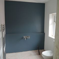 Bathroom using Dulux Steel Symphony 1 Grey Bathroom Paint, Downstairs Bathroom, Grey Bathrooms, Cabinet Paint Colors, Wall Paint Colors, Farrow And Ball Blue Gray, Dulux Blue, Dulux Paint, Blue Gray Paint
