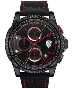 Scuderia Ferrari Men's Chronograph Formula Italia S Black Leather Strap Watch 46mm 830273 - Men's Watches - Jewelry & Watches - Macy's