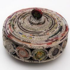 DIY Coiled Newspaper Dish With Lid From The Same Person Who Created Magazine Here Saved By Love Creations