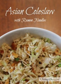 Asian Coleslaw with Ramen Noodles recipe is a sweet-tangy side dish to feed a crowd - perfect for pitch-ins!This Asian Coleslaw with Ramen Noodles recipe is a sweet-tangy side dish to feed a crowd - perfect for pitch-ins! Easy Salad Recipes, Side Dish Recipes, Asian Recipes, Healthy Recipes, Coleslaw Recipes, Dinner Recipes, Lunch Snacks, Coleslaw With Ramen Noodles, Ramen Salad With Cabbage
