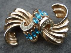 CORO Duette Art Deco Crystal Jeweled Brooch c 1950
