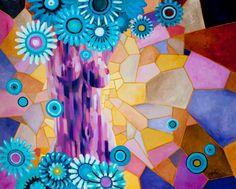 ACT With Blue Flowers original art acrylic on by JakubJecminekArt
