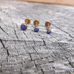 $49.99 Triple forward helix cartilage studs purple opal ends rose gold titanium anodized 3 tragus stud ear bar 4mm 16g purple opal 3mm 2.5mm set by SirenBodyJewelry on Etsy