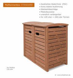2er Mülltonnenbox STANDARD Holz für 2 x 120 oder 2 x 240 Liter Abfalltonnen