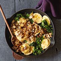 Cheese Ravioli with Mushrooms and Spinach--from Rachel Ray. I made this tonight and it was fabulous. Served it with grapes and a loaf of olive rosemary bread from Outpost to make the kids happy.