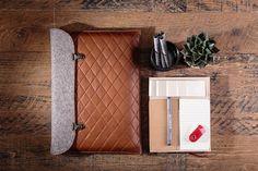 "MacBook 13""3 pro case bag for macbook pro 13 sleeve leather wool felt handbag…"