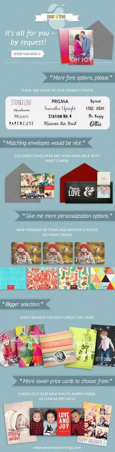 You asked, we listened! #ChristmasCards #PearTreeGreetings #HolidayCards