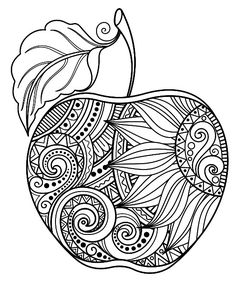 Vector Monochrome Contour Apple Stock