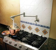 Pot Filler Over The Stove : Over The Stove Kitchen Ideas – Kitchen Installation Want n my house! Pot Filler Faucet, Mediterranean Kitchen, Kitchen Installation, Layout, Plumbing Fixtures, Stove, Kitchen Remodel, Modern, House Design