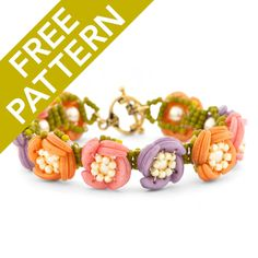 Stitch up this cute Luna Rosa Bracelet using the free pattern available at FusionBeads.com.