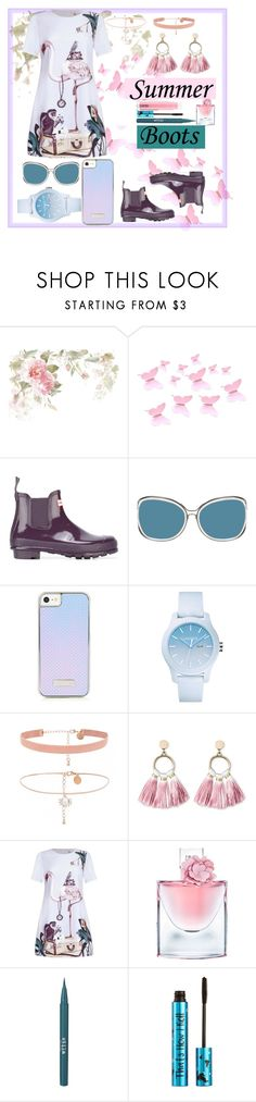"""""""Walk this way; Pastel pretty"""" by chogiwhyy ❤ liked on Polyvore featuring Hunter, Linda Farrow, Lacoste, SUGARFIX by BaubleBar, Lancôme, Stila, Barry M and MAC Cosmetics"""