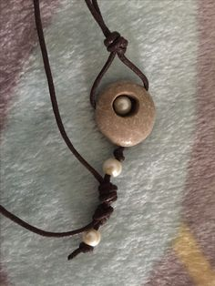 Beach stone and pearl necklace