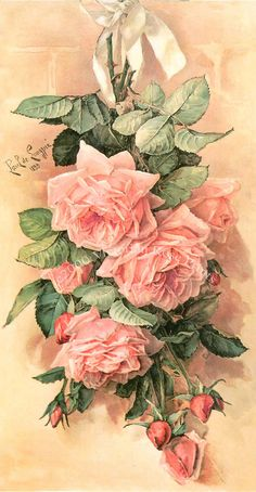 (Original as re-pinned) PRINT+FREE+SHIP+Pink+Cabbage+Roses+Paul+de+by+VictorianRosePrints,+$12.99