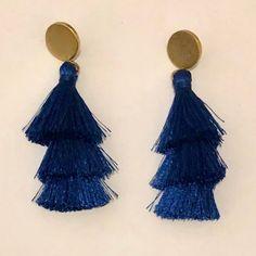 J. Crew Jewelry | J Crew Blue Tassel Earrings Brass Gold Post Boho | Poshmark Blue Tassel Earrings, Drop Earrings, Blue Gold, Tassels, J Crew, Polka Dots, Women Jewelry, Brass, Boho