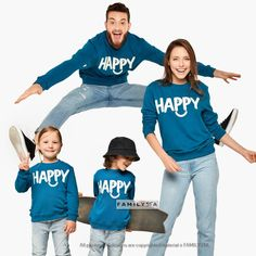 Matching Happy Sweatshirts, Family Sweatshirts, Matching Family Outfit, Matching Family Set, Happy Outfit, Adult Family Sweatshirts, Family Matching Couple Outfits, Matching Couples, Family Christmas Outfits, Couple Pajamas, Family Set, Holiday Sweater, Matches Fashion, Mommy And Me, Graphic Sweatshirt