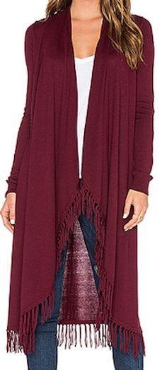 Long sleeve marsala fringe cardigan