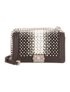 Limited Edition Spring 2015 Collection. Black satin Chanel Medium Boy bag with matte silver-tone hardware, gradated pearl embellishments. $6500