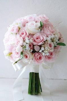 42 Soft Pink Wedding Bouquets To Fall In Love With ♥ These soft pink wedding bouquets could give you so much inspiration! Gentle and feminine colors with perfect accents. So cute and beautiful. Pink Rose Bouquet, Bridal Bouquet Pink, Rose Wedding Bouquet, White Wedding Bouquets, Blush Roses, Purple Bouquets, Wedding Dresses, Peonies Bouquet, Brooch Bouquets