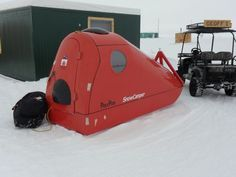 The Poly Pod snow camper, equipped with Trimble GPS and arctic survival gear - ruggedtimes Survival Shelter, Wilderness Survival, Camping Survival, Survival Prepping, Survival Gear, Survival Skills, Camping Gear, Survival Gadgets, Emergency Preparation
