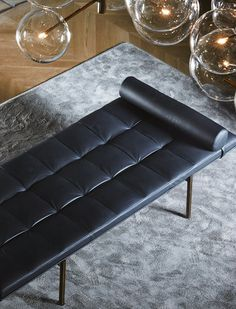 Twelve-Day Bed by Massimo Castagna. Day bed with hand burnished brass structure with mattress and headrest in foam polyurethane covered by leather, suede or velvet as per samples.