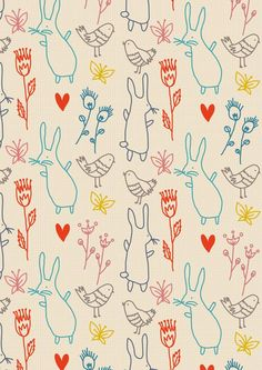 Little Cube Summer Rabbits Wallpaper, Remodelista