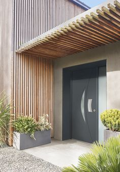 Modern Entrance Door, Entrance Doors, Door Design, Exterior Design, Wood Fence Gates, Container Homes Cost, Grey Houses, Marquise, Forest House
