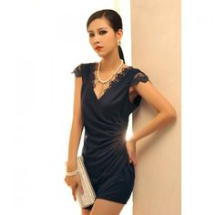 Chic Cross V-Neck Pleat Waist Lace Embellished Women's 2013 Spring Formal Dress, AS IN THE PICTURE, ONE SIZE in Mini Dresses   DressLily.com