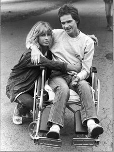 Barry Sheene, with Stephanie, after the Silverstone crash.