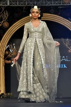 White and taupe lengha by Elan at PFDC L'Oreal Paris Bridal Week 2013 .now go forth and share that BOW DIAMOND style ppl! Pakistani Wedding Dresses, Pakistani Bridal, Pakistani Outfits, Indian Dresses, Indian Outfits, Bridal Dresses, Indian Bridal Wear, Asian Bridal, Ethnic Fashion