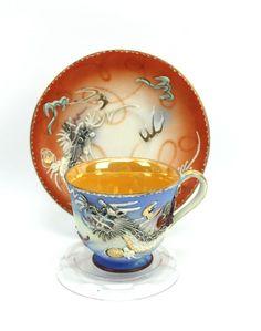 Vintage Blue Orange Dragon Tea Cup & Saucer Moriage Dragonware Nikochina Japan #Nikochina #weboys10