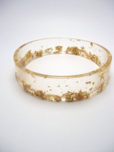 Resin Bangle Bracelet Gold Leaf Flake by TheQuietRiot on Etsy, $14.99