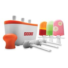 Zoku Quick Pop Maker freezes ice pops in as little as 7 minutes right on your countertop without electricity! Quickly make striped pops, yogurt pops, or flavored core pops.