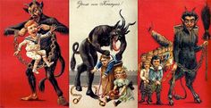 #Krampus is a mythical devilish creature originating in the folklore of Austria and Hungary. Krampus is said to be a counterpart to Saint Nicholas and would accompany the latter on Yule. Good little boys and girls would get gifts from Santa while all the brats would be whipped with birch branches and carted off in a large sack.